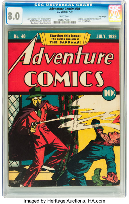 Adventure Comics #40 Billy Wright pedigree (DC, 1939) CGC VF 8.0 White pages....