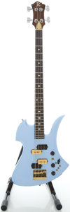 Musical Instruments:Bass Guitars, Early 1980's B. C. Rich Mockingbird Ice Blue Pearl Electric Bass Guitar, Serial #84415....