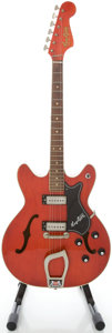 Musical Instruments:Electric Guitars, 1960's Hagstrom Viking Cherry Semi-Hollow Body Electric Guitar,Serial #713131....