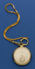 Timepieces:Pocket (post 1900), Tiffany 18k Watch, Gold Plate Chain. ...