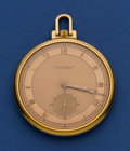 Timepieces:Pocket (post 1900), E. Gübelin 18k Gold 46 mm Deco Watch. ...