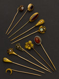 Estate Jewelry:Stick Pins and Hat Pins, Eleven Gold Stick Pins. ... (Total: 11 Items)