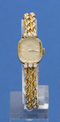 Timepieces:Wristwatch, Rolex Lady's Gold & Diamond Bracelet Watch. ...