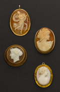 Estate Jewelry:Cameos, Four Gold Framed Cameos. ... (Total: 4 Items)