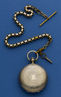 Timepieces:Pocket (pre 1900) , Albert Duval 52 mm Silver Key Wind With Chain. ...