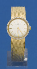 Timepieces:Wristwatch, Baume & Mercier Mid-Size Gold & Diamond Bracelet Watch. ...