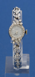 Timepieces:Wristwatch, Hamilton 14k White Gold & Diamond Bracelet Watch. ...