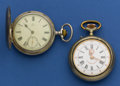 Timepieces:Pocket (post 1900), Omega Silver Hunters Case & Roskopf. ... (Total: 2 Items)