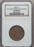 Large Cents: , 1844 1C AU58 NGC. N-5. Jules Reiver Collection. NGC Census:(24/71). PCGS Population (10/32). Mintage: 2,398,752. Numismed...