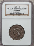 Large Cents, 1833 1C AU55 NGC. N-6. Ex: Jules Reiver Collection. NGC Census:(28/191). PCGS Population (23/80). Mintage: 2,739,000. Num...