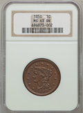 Large Cents: , 1850 1C MS63 Brown NGC. NGC Census: (62/300). PCGS Population(71/153). Mintage: 4,426,844. Numismedia Wsl. Price for probl...