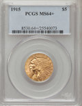Indian Half Eagles, 1915 $5 MS64+ PCGS. PCGS Population (445/41). NGC Census: (511/41).Mintage: 588,075. Numismedia Wsl. Price for problem fre...