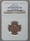 Errors, 1969 1C Lincoln Cents Broadstruck, MS63 Brown NGC. NGC Census:(2/528). PCGS Population (16/403). (#2914)...