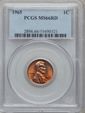 Lincoln Cents: , 1965 1C MS66 Red PCGS. PCGS Population (429/14). NGC Census:(494/54). Numismedia Wsl. Price for problem free NGC/PCGS coi...