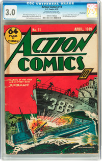 Action Comics #11 Billy Wright pedigree (DC, 1939) CGC GD/VG 3.0 Off-white to white pages