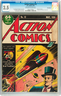 Action Comics #12 Billy Wright pedigree (DC, 1939) CGC GD+ 2.5 Off-white to white pages
