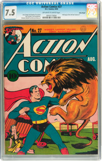 Action Comics #27 Billy Wright pedigree (DC, 1940) CGC VF- 7.5 Off-white to white pages