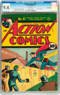Golden Age (1938-1955):Superhero, Action Comics #37 Billy Wright pedigree (DC, 1941) CGC NM 9.4 White pages....