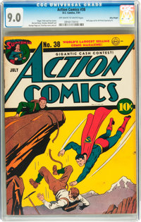 Action Comics #38 Billy Wright pedigree (DC, 1941) CGC VF/NM 9.0 Off-white to white pages