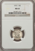 Barber Dimes: , 1915 10C MS63 NGC. NGC Census: (58/143). PCGS Population (86/166).Mintage: 5,620,450. Numismedia Wsl. Price for problem fr...