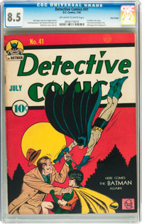 Detective Comics #41 Billy Wright pedigree (DC, 1940) CGC VF+ 8.5 Off-white to white pages