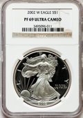 Modern Bullion Coins, 2002-W $1 Silver Eagle, 20th Anniversary Collection PR69 UltraCameo NGC. #384 of 2005. NGC Census: (15127/3614). PCGS Po...