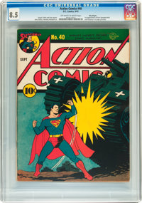Action Comics #40 Billy Wright pedigree (DC, 1941) CGC VF+ 8.5 Off-white to white pages