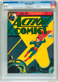 Action Comics #39 Billy Wright pedigree (DC, 1941) CGC VF 8.0 Off-white to white pages