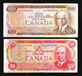 Canadian Currency: , BC-51b $50 1975. BC-52b $100 1975. ... (Total: 2 notes)