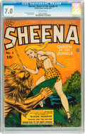 Golden Age (1938-1955):Adventure, Sheena, Queen of the Jungle #1 (Fiction House, 1942) CGC FN/VF 7.0 Off-white pages....