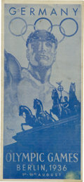 Olympic Collectibles:Autographs, 1936 Berlin Olympic Games Original Pamphlet Program. ...