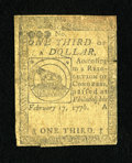Colonial Notes:Continental Congress Issues, Continental Currency February 17, 1776 $1/3 Fine....