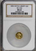 California Fractional Gold, 1853 $1 Liberty Octagonal 1 Dollar, BG-530, R.2, MS63 NGC....