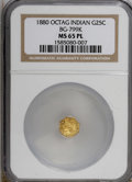 California Fractional Gold, 1880 25C BG-799 K MS65 Prooflike NGC. (#710637)...