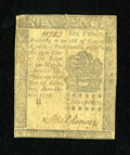 Colonial Notes:Pennsylvania, Pennsylvania October 25, 1775 6d Very Fine....