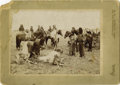 Photography:Cabinet Photos, UNCOMMON CABINET IMAGE OF COMANCHE CATTLE BUTCHERING. As wastypical with many native tribes, the men did the hunting and th...(Total: 1 Item)