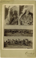 Photography:Cabinet Photos, PRISTINE FOUR-IMAGE CABINET OF GERONIMO AND SCENES FROM INDIAN TERRITORY. Unique composite image originally photographed and... (Total: 1 Item)