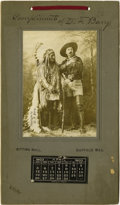 """Photography:Official Photos, RARE BUFFALO BILL/SITTING BULL CALENDAR """"COMPLIMENTS OF D.F. BARRY"""". Familiar 4"""" x 5½""""full-length sepia image of Buffal... (Total: 1 Item)"""