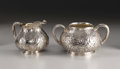 Silver Holloware, American:Creamers and Sugars, An American Silver Creamer and Sugar Bowl. Gorham ManufacturingCompany, Providence, Rhode Island. Chased by Nicholas He... (Total:2 Items)