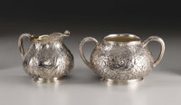 An American Silver Creamer and Sugar Bowl  Gorham Manufacturing Company, Providence, Rhode Island Chased by Nicholas He...