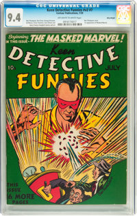 Keen Detective Funnies V2#7 Billy Wright pedigree (Centaur, 1939) CGC NM 9.4 Off-white to white pages