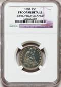 Proof Seated Quarters, 1880 25C -- Improperly Cleaned -- NGC Details. Proof AU. NGC Census: (6/268). PCGS Population: (8/347). PR60. Mintage 1,355...