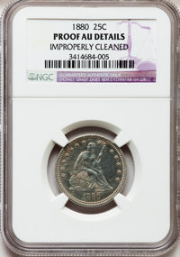 1880 25C -- Improperly Cleaned -- NGC Details. Proof AU. NGC Census: (6/268). PCGS Population: (8/347). PR60. Mintage 1...