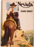 """Books:Literature 1900-up, Zane Grey. """"Nevada."""" A Romance of the West. New York andLondon: Harper & Brothers, 1928. First edition. Inscr..."""