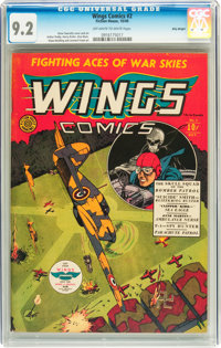 Wings Comics #2 Billy Wright pedigree (Fiction House, 1940) CGC NM- 9.2 Off-white to white pages