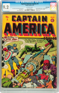 Captain America Comics #3 Billy Wright pedigree (Timely, 1941) CGC NM- 9.2 Off-white pages