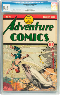 Adventure Comics #41 Billy Wright pedigree (DC, 1939) CGC VF+ 8.5 Off-white to white pages