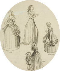 DEAN CORNWELL (American, 1892-1960) Historical Costume Studies Charcoal and pencil on paper 14.5