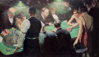 HAROLD VON SCHMIDT (American, 1893-1982) Roulette Print 20.5 x 35.5 in. (image) Signed lower r
