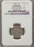 Liberty Nickels: , 1895 5C --Obv Damage--NGC Details. AG. NGC Census: (0/299). PCGSPopulation (4/388). Mintage: 9,979,884. (#3856)...